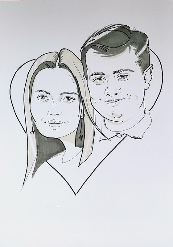 Шарж для влюбленной пары